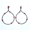 Silver Earrings (Black Rhodium Plated) with White and Ruby CZ