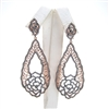 Silver Earrings (Rose Gold and Black Rhodium Plated) with White CZ