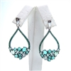 Silver Earrings  with White and Light Emerald CZ