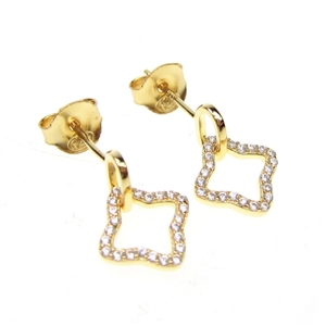 Silver Earrings (Gold Plated) with White CZ