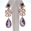 Silver Earrings (Rose Gold Plated) with White & Amethyst CZ
