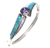 Silver Bangle  w/ Inlay Created Opal, White & Tanzanite CZ