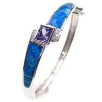 Silver Bangle (Rhodium Plated) with Inlay Created Opal, White & Tanzanite CZ