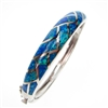 Silver Bangle with Inlay Created Opal