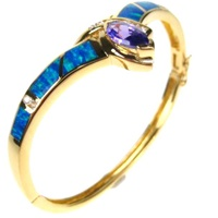 Silver Bangle (Gold Plated) w/ Inlay Created Opal, White & Tanzanite CZ