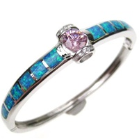 Silver Bangle (Rhodium Plated) w/ Inlay Created Opal, White & Pink CZ