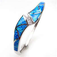 Silver Bangle W/ Inlay Created Opal & White CZ