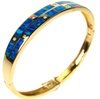 Silver Bangle (Gold Plated) w/ Inlay Created Opal & White CZ