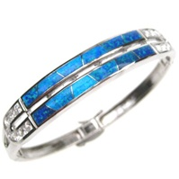 Silver Bangle (Rhodium Plated) w/ Inlay Created Opal & White CZ