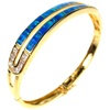 Silver Bangle (Gold Plated) w/ Inlay Created Opal and White CZ