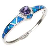 Silver Bangle (Rhodium Plated) w/ Inlay Created Opal, White & Tanzanite CZ