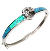 Silver Bangle (Rhodium Plated) w/ Inlay Created Opal, White & Smoky Topaz CZ