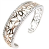 Silver Bangle (Rhodium and Rose Gold Plated) with White CZ