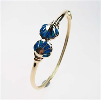Silver Bangle (Gold Plated) w/ Inlay Created Opal (Sea Shells)