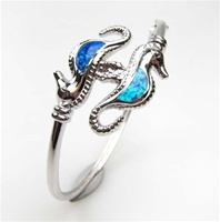 Silver Bangle w/ Inlay Created Opal (Seahorse)
