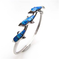 Silver Bangle w/ Inlay Created Opal (Dolphins)