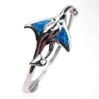 Silver Bangle with Inlay Created Opal (Sting Ray)