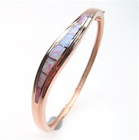 Silver Bangle (Rose Gold Plated) with Inlay Created Opal