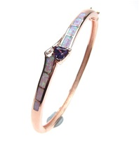 Silver Bangle (Rose Gold Plated) with Inlay Created Opal, White & Tanzanite CZ