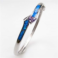 Silver Bangle with Inlay Opal, White & Tanzanite CZ
