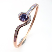 Silver Bangle (Rose Gold Plated) with Inlay Created Opal & Tanzanite CZ