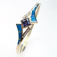 Silver Bangle (Gold Plated) with Inlay Created Opal, White & Tanzanite CZ