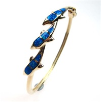 Silver Bangle (Gold Plated) w/ Inlay Created Opal