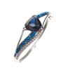 Silver Bangle with Inlay Created Opal, White and Tanzanite CZ