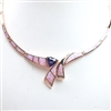 Rose Gold Plated Silver Necklace with Inlay Created Opal, White & Tanzanite CZ