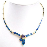 Silver Necklace (Gold Plated) W/ Inlay Created Opal and Tanzanite & White CZ
