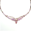 Rose Gold Plated Silver Necklace with Inlay Created Opal, White & Pink CZ