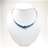 Silver Necklace with Inlay Created Opal, Wht & Tanzanite CZ