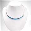 Silver Necklace with Inlay Created Opal
