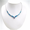 Silver Necklace (Rhodium Plated) w/ Inlay Created Opal & Tanzanite CZ