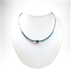 Silver Necklace with Inlay Created Opal, White and Amethyst CZ