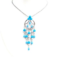 Silver Necklace (Rhodium Plated) w/ White CZ and Created Turquoise
