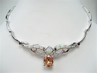 Silver Necklace w/ Inlay Created Opal & Champagne CZ