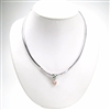 Silver Necklace with Inlay Created Opal and Champagne