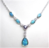 Silver Necklace w/ Inlay Created Opal, Wht & Tanzanite CZ
