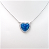 Silver Pendant Necklace with Inlay Created Opal & White CZ