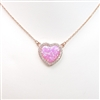 Rose Gold Plated Pendant Necklace with Inlay Created Opal & White CZ