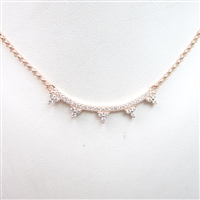 Silver Necklace (Rose Gold Plated) with White CZ