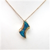 Silver Pendant  (Gold Plated) with Inlay Created Opal & White CZ