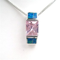 Silver Pendant w/ Inlay Created Opal, Wht & Pink CZ