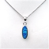 Silver Pendant with Inlay Created Opal