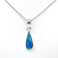 Sterling Silver Pendant with Inlay Created Blue Opal