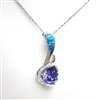Silver Pendant with Created Opal, White & Tanzanite CZ