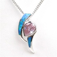 Silver Pendant with Created Opal and Pink CZ