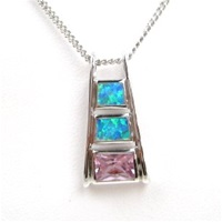 Silver Pendant w/ Created Opal and Pink CZ