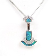 Silver Pendant w/ Inlay Created Opal & White CZ